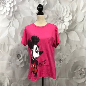 Disney Pink Mickey Mouse All You Need Love Tee XL